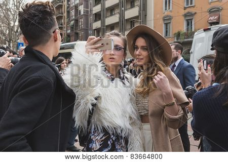 People Outside Gucci Fashion Show Building For Milan Women's Fashion Week 2015