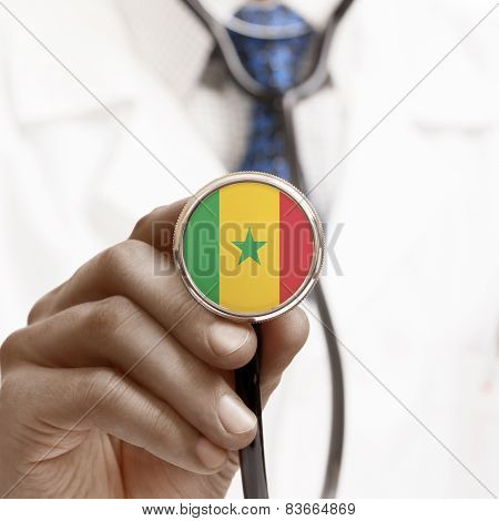 Stethoscope With National Flag Conceptual Series - Senegal