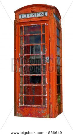 A grungy telephone box (Clipping path included)