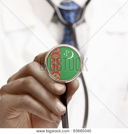 Stethoscope With National Flag Conceptual Series - Turkmenistan
