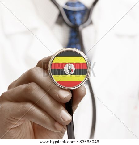 Stethoscope With National Flag Conceptual Series - Uganda