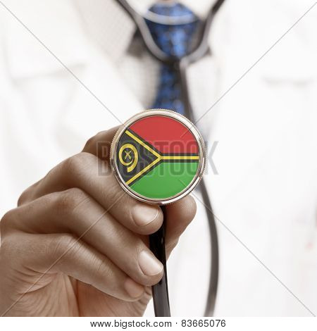Stethoscope With National Flag Conceptual Series - Vanuatu