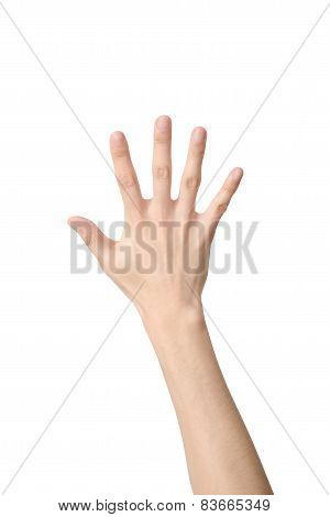 Hand Sign Of Number Five