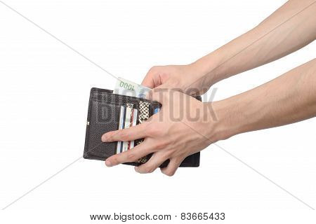 Taking Some Bills Out Of A Wallet