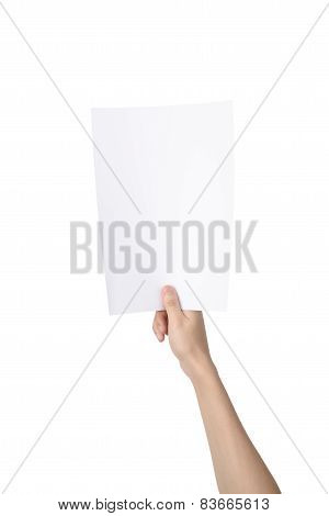 Hand Holding A4 Paper, Isolated On White