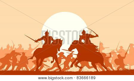 Illustration Of Medieval Battle With Fight Of Two Mounted Warriors.