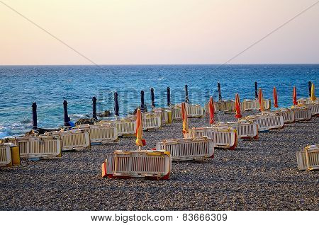 The beach in the evening