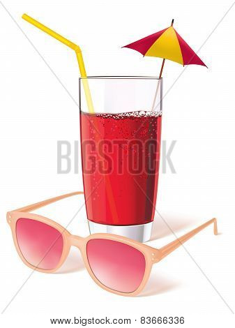 Glass With Sunglasses, Juice And Decorated With A Miniature Umbrella.
