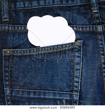 Cloud shape in a back pocket of a jeans