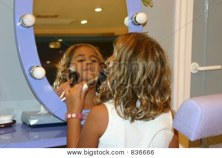 Little Girl Applying Make Up Front The Mirror