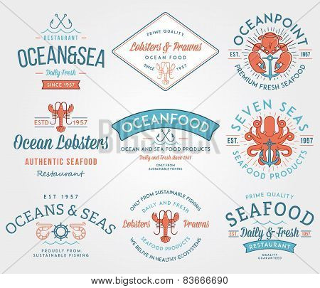 Seafood Labels And Badges Vol. 3 Colored
