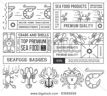 Seafood Labels And Badges Vol. 4 Black On White