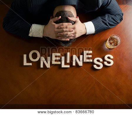 Word Loneliness and devastated man composition
