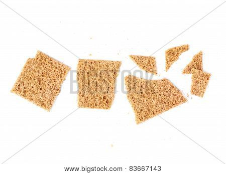 Broken bread cracker snack isolated