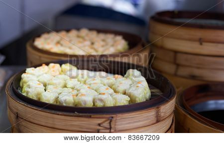 Chinese Steamed Dimsum In Bamboo Containers