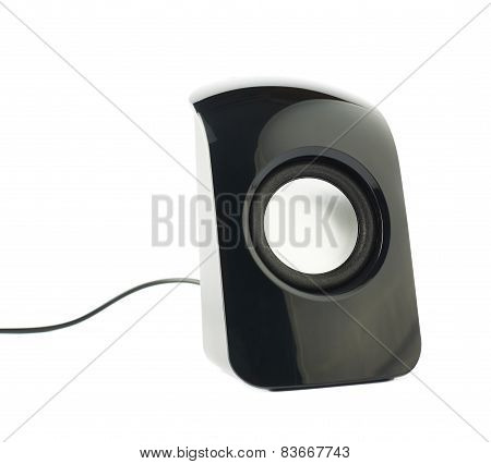 Black glossy sound speaker isolated