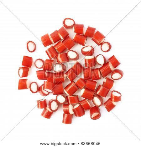 Pile of small red candy sweets isolated