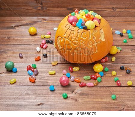Trick or treat pumpkin composition