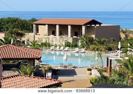 Swimming Pool Near Beach At The Luxury Hotel, Peloponnes, Greece