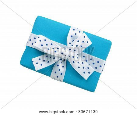 blue gift box with ribbon bow