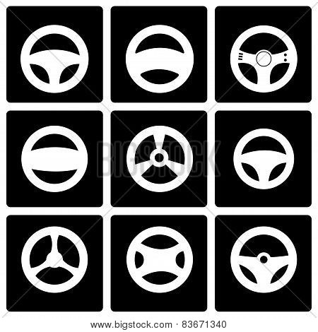 Vector Black Steering Wheels Icon Set