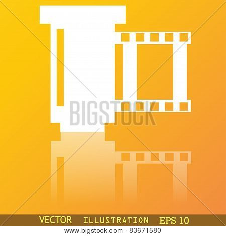Negative Films Icon Symbol Flat Modern Web Design With Reflection And Space For Your Text. Vector