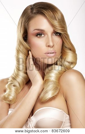 Beautiful Young Blond Model Curly Hair Posing