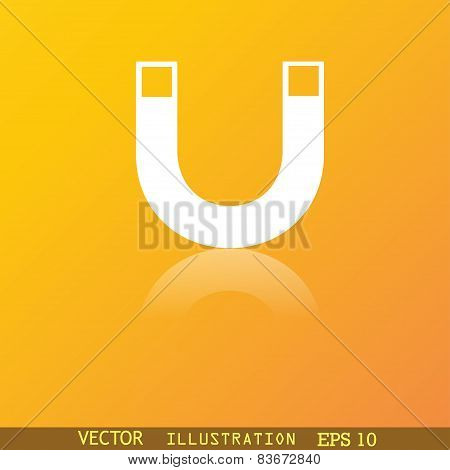 Magnet Icon Symbol Flat Modern Web Design With Reflection And Space For Your Text. Vector