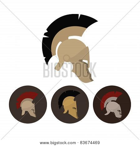 Set Of Four Antique Helmets, Vector Illustration