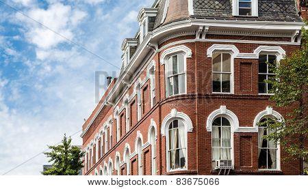 Curved Corner Of Old Brick Building