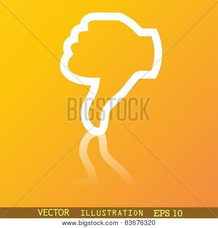 Dislike, Thumb Down Icon Symbol Flat Modern Web Design With Reflection And Space For Your Text. Vect