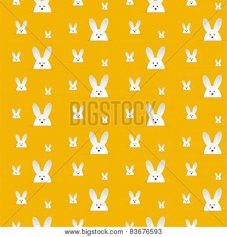 Happy Easter Rabbit Bunny Orange Seamless Background