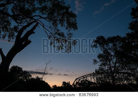 Trees And A Bridge Silhouetted Against The Sunset.