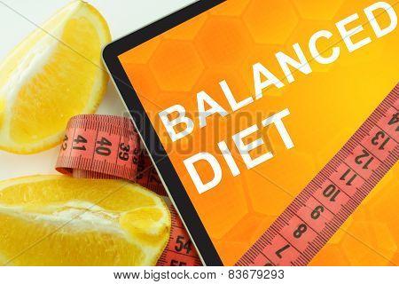 balanced diet on tablet.