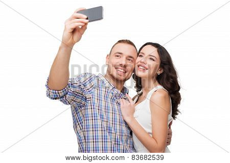 Lovers making selfie. They smile