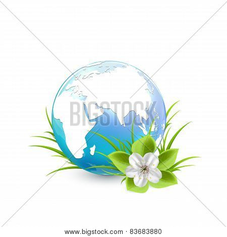 Blue Earth Globe With Flower