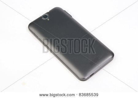 Blank Back Of A Modern Phone On White Background
