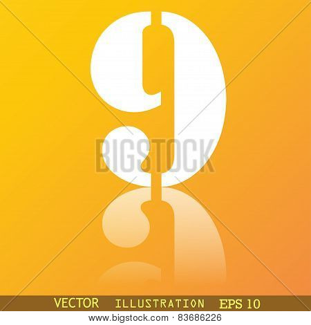 Number Nine Icon Symbol Flat Modern Web Design With Reflection And Space For Your Text. Vector