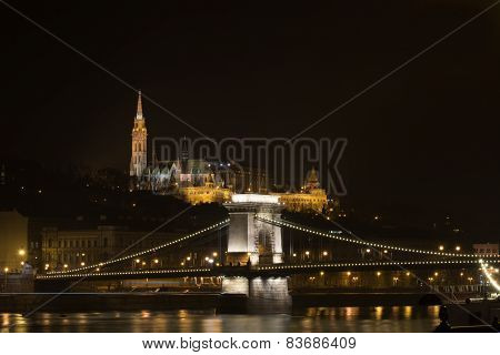 Night panorama in Budapest
