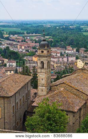 Panoramic view of  Castellarquato. Emilia Romagna. Italy.