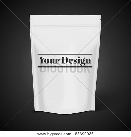 White Blank Foil Food Illustration Isolated On Black Background. Product Packing Vector