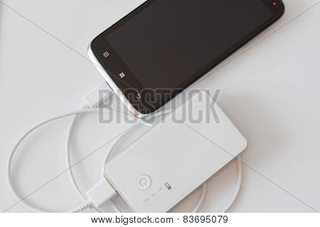 Smartphone Charged By Power Bank