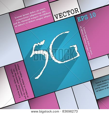 5G Icon Symbol Flat Modern Web Design With Long Shadow And Space For Your Text. Vector