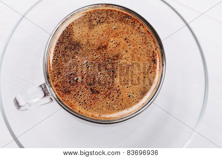 Overhead view of coffee foam