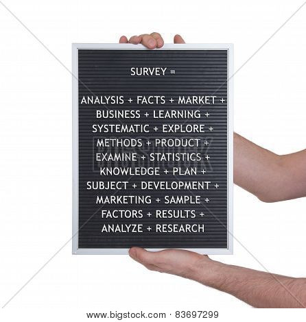 Survey Concept In Plastic Letters On Very Old Menu Board