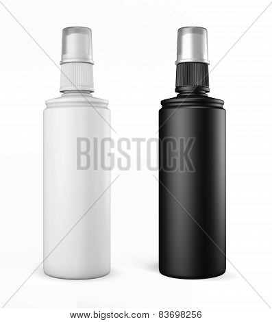 White And Black Plastic Bottles With Spray On A White Background