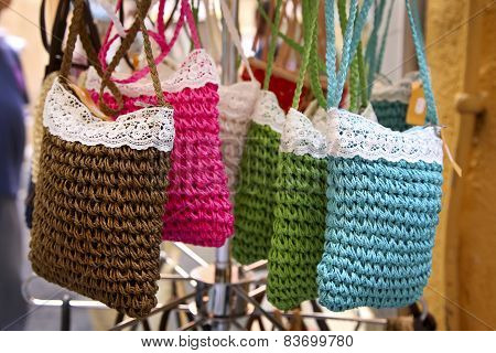 Handmade Women Bags Sold At The Market. Street Shopping For Handbags