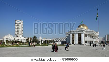 Ashgabad, Turkmenistan - October, 10 2014: Central Square Of Ashgabad In October, 10 2014. Turkmenis