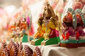 pic of lakshmi  - Colorful decorative Goddess Lakshmi and Lord Ganesha in Diwali - JPG