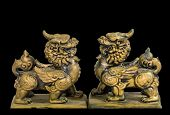 picture of talisman  - The chinese talisman figurine statue black background - JPG